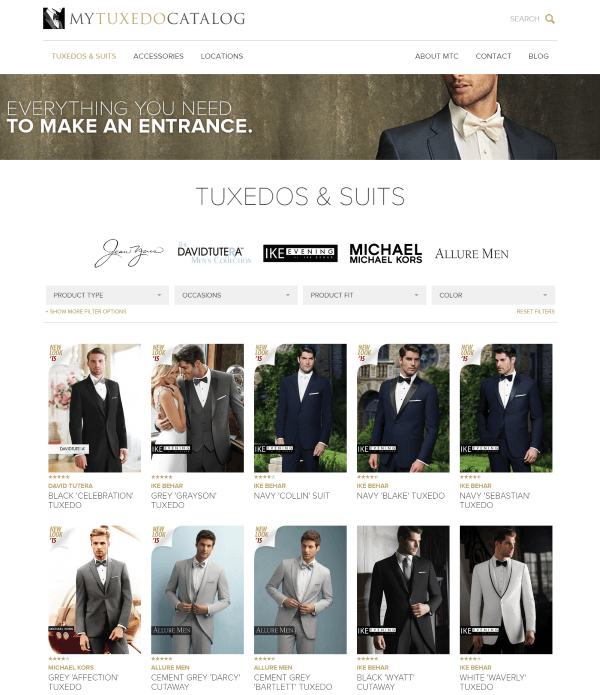 Use MyTuxedoCatalog.com to get PM Style numbers or style names